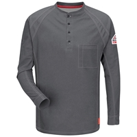 Bulwark FR iQ Series Long Sleeve Henley - Charcoal flame, resistant, retardant, arc, flash, fire, electrical, frc, men's, mens, tshirt, tee, grey, gray