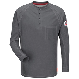 Bulwark FR iQ Series Long Sleeve Henley - Charcoal