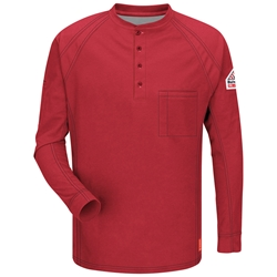 Bulwark FR iQ Series Long Sleeve Henley - Red flame, resistant, retardant, arc, flash, fire, electrical, frc, mens, mens, tshirt, tee