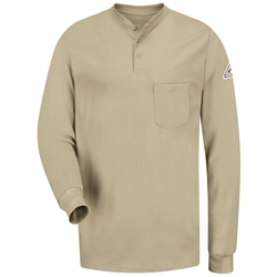 Bulwark FR Long Sleeve Tagless Henley - Khaki lightweight, tag-less, flame, resistant, retardant, arc, flash, fire, mens, shirt, tan, beige