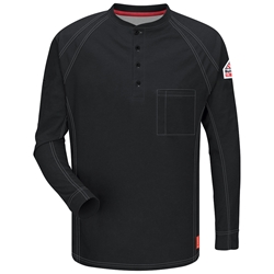 Bulwark FR iQ Series Long Sleeve Henley - Black flame, resistant, retardant, arc, flash, fire, electrical, frc, men's, mens, tshirt, tee