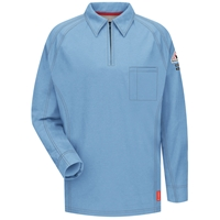 Bulwark FR iQ Series Comfort Knit Long Sleeve Polo - Light Blue flame, resistant, retardant, arc, flash, fire, casual, lightweight, moisture-wicking, zipper, cat2, 2112