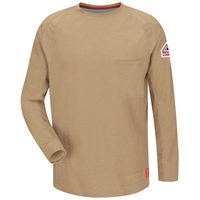 Bulwark iQ Series FR Long Sleeve T-Shirt - Khaki fire, flame, resistant, retardant, arc, flash, men's, mens, tee, crew, neck, pocket, frc