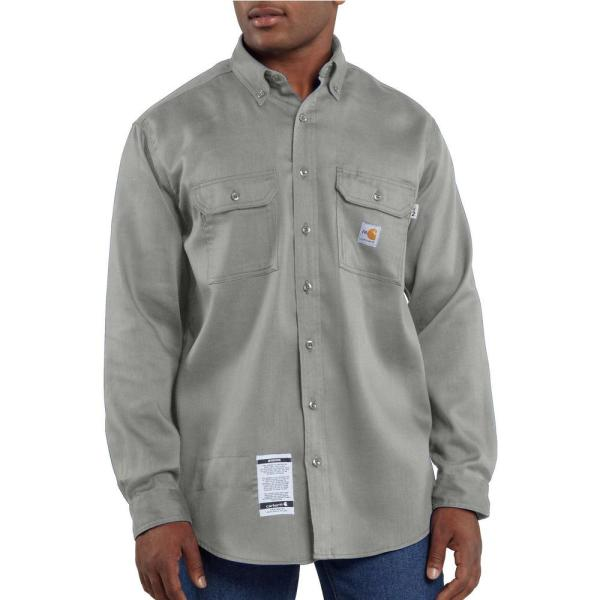 Carhartt FR Classic 7 oz. Twill Work Shirt - Gray flame, resistant, retardant, frc, solid, work, button-down, button, down, grey