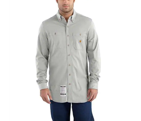 Carhartt FR Force Cotton Hybrid Button Down Shirt - Light Gray flame, resistant, retardant, frc, solid, work, grey