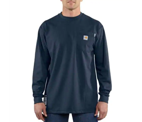 Carhartt FR Force Cotton Original Fit Long Sleeve Tee - Dark Navy flame, resistant, retardant, frc, solid,t-shirt