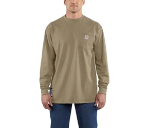 Carhartt FR Force Cotton Original Fit Long Sleeve Tee - Khaki flame, resistant, retardant, frc, solid,tan,beige,brown,t-shirt