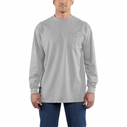 Carhartt FR Force Cotton Original Fit Long Sleeve Tee - Light Gray flame, resistant, retardant, frc, solid,grey,t-shirt
