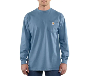 Carhartt FR Force Cotton Original Fit Long Sleeve Tee - Medium Blue flame, resistant, retardant, frc, solid,t-shirt