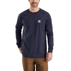 Carhartt FR Force Cotton Relaxed Fit Long Sleeve T-Shirt - Dark Navy flame, resistant, retardant, frc, solid,tee