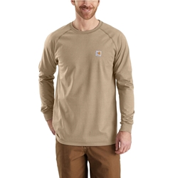 Carhartt FR Force Cotton Relaxed Fit Long Sleeve T-Shirt - Khaki flame, resistant, retardant, frc, solid,tee,tan,beige,brown