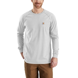 Carhartt FR Force Cotton Relaxed Fit Long Sleeve T-Shirt - Light Gray flame, resistant, retardant, frc, solid,grey,t-shirt