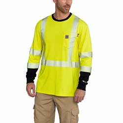 Carhartt FR Hi Vis Force Long Sleeve T-Shirt | Class 3 flame, resistant, retardant, frc, high, visibility, hivis, viz, bright, yellow, green, tee