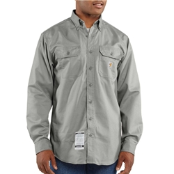 Carhartt FR Lightweight Twill Work Shirt - Gray flame, resistant, retardant, frc, solid, work, button-down, button, down, grey