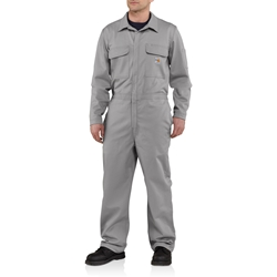 Carhartt FR Traditional 9 oz. Twill Coveralls - Gray carhart, flame, resistant, retardant, frc, nomex, fire, light, grey, oil and gas, electricians, arc, flash, electrical