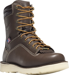 "Danner Quarry USA Brown 8"" Alloy Toe Wedge Work Boot"