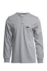 Lapco 7 oz. FR Henley Tee with Pocket - Gray flame, resistant, retardant, grey