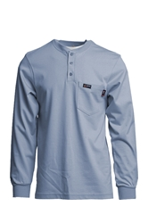 Lapco 7 oz. FR Henley Tee with Pocket - Medium Blue flame, resistant, retardant, light