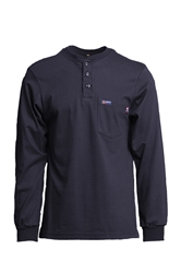 Lapco 7 oz. FR Henley Tee with Pocket - Navy flame, resistant, retardant, jersey, knit, cotton