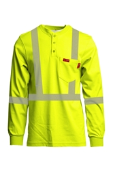 Lapco 7 oz. FR Hi-Viz Henley Tee - Type R Class 2 flame, resistant, retardant, reflective, striping, green, yellow, hi-vis, visibility, high
