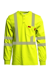 Lapco 7 oz. FR Hi-Viz Henley Tee - Type R Class 3 flame, resistant, retardant, reflective, striping, green, yellow, hi-vis, visibility, high