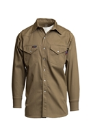 Lapco 7 oz. FR Western Pearl Snap Shirt - Khaki flame, resistant, retardant, work, button down
