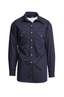 Lapco 7 oz. FR Western Pearl Snap Shirt - Navy flame, resistant, retardant, button down, pearlsnap