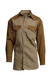 Lapco FR Two-Tone Western Shirt - Khaki|Brown