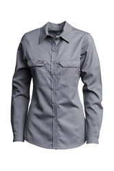 Lapco FR Womens Advanced Comfort Uniform Shirt - Gray flame, resistant, retardant, work, button down, grey, womens, ladies