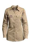 Lapco FR Women's Advanced Comfort Uniform Shirt - Khaki flame, resistant, retardant, work, button down, tan, womens, ladies