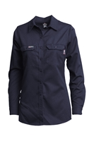 Lapco FR Women's Advanced Comfort Uniform Shirt - Navy flame, resistant, retardant, work, button down, womens, ladies