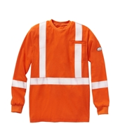 Rasco FR Hi Vis Long Sleeve Shirt with Reflective Trim - Orange flame, resistant, retardant, high, visibility, viz, trim