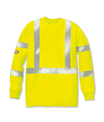 Rasco FR Hi Vis Long Sleeve Shirt with Reflective Trim - Yellow flame, resistant, retardant, high, visibility, viz, trim, green, striping