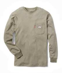 Rasco FR Long Sleeve Crew Neck T-Shirt - Khaki flame, resistant, retardant, work, tan, tee