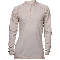 Reed Khaki FR Henley Cotton Jersey Shirt