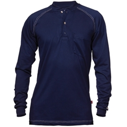 Reed Navy FR Henley Cotton Jersey Shirt